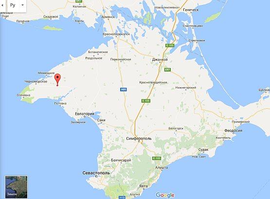 Глебовское газохранилище на карте Крыма