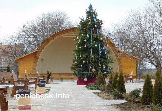 Сцена в парке Счастливцево на Новый год