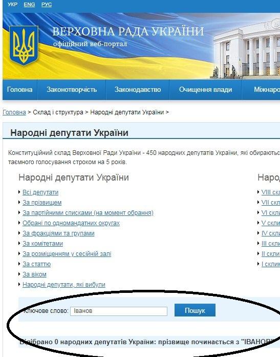 Сайт ВР депутата Иванова не находит